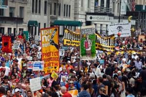 Demonstrators fill Central Park South