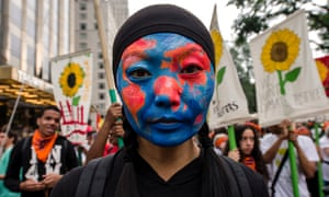 Demonstrators gather for the People's Climate March in New York City.