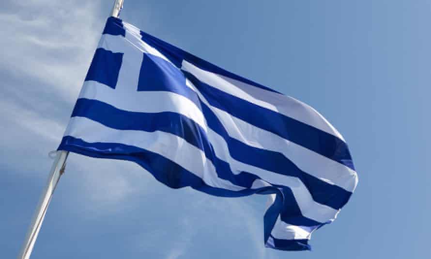 Greek flag in wind