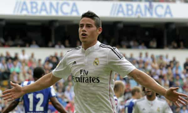 Real Madrid's James Rodríguez arrived from Monaco for £71m.