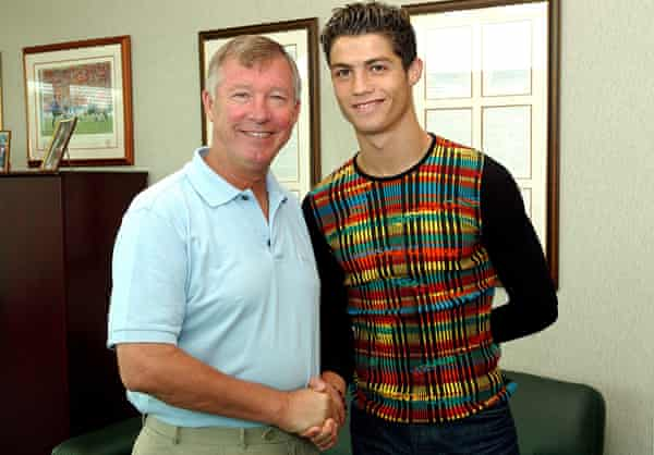 Sir Alex Ferguson greets Cristiano Ronaldo after the Portuguese youngster's move to Manchester United in 2003.