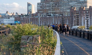 A view looking south east along the Interim Walkway at The Rail Yards. In the foreground is an art installation by Adrián Villar Rojas, commissioned by The High Line.