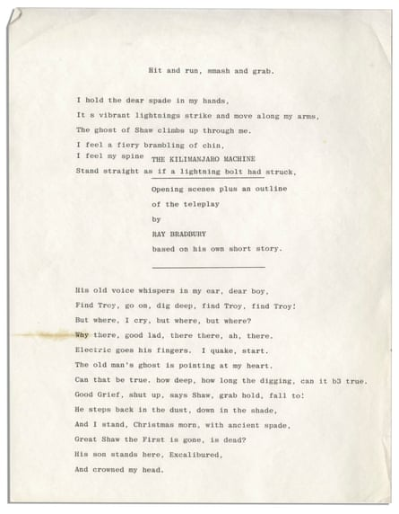 Ray Bradbury's unpublished poem, GBS and the Spade