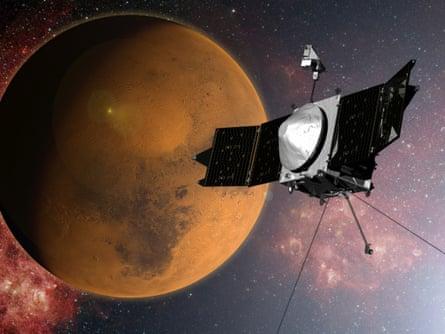 Nasa's Maven spacecraft in orbit around Mars.