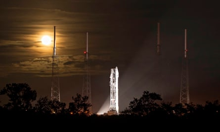 A full moon rising behind the Atlas V rocket that launched Maven from Cape Canaveral, Florida