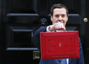 George Osborne with his budget case