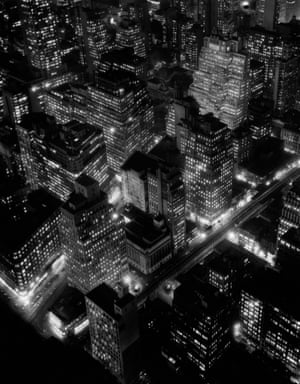 A nighttime view of New York City, USA, 1932.