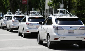 Sit back and relax ... Google self-driving cars Photograph: Eric Risberg/AP