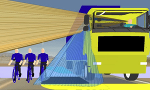 Driver blind spots on existing lorry designs