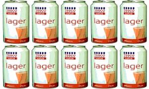 Tesco Value lager, after Banksy