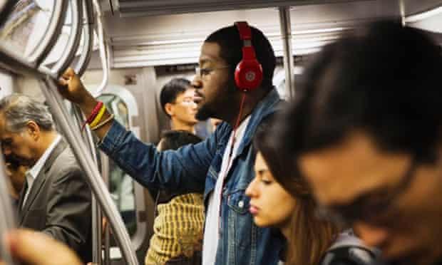 beats music headphones on subway