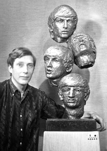 David Wynne in 1964 with his bronze heads of the Beatles.