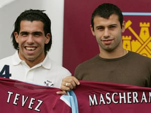 Carlos Tevez and Javier Mascherano are unveiled at West Ham in September 2006.