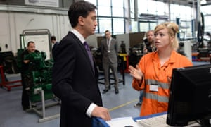 Labour leader, Ed Miliband meets apprentices at Manchester College during party's annual conference