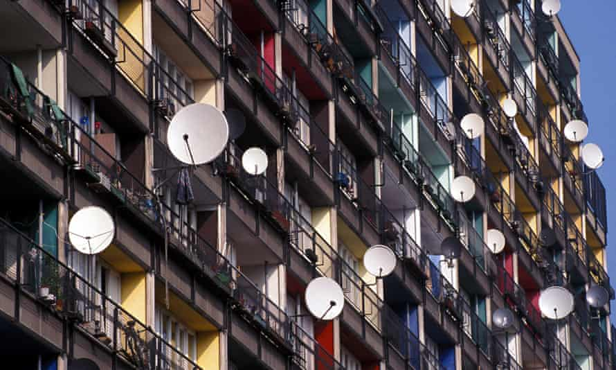 Balconies of flats in Berlin.