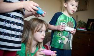 Children playing on Nintendo wii,wii, game, computer, games, children, child, childhood