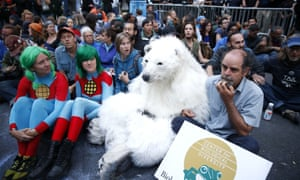 flood wall street polar bear protester captain planet