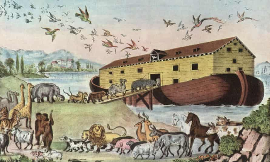 Noah's Ark in an 1860 engraving from the work America by Currier and Yves 1870