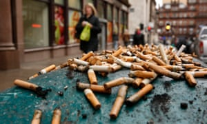 Cigarette butts in Glasgow. Miliband told the Labour conference that the industry made 'soaring prof