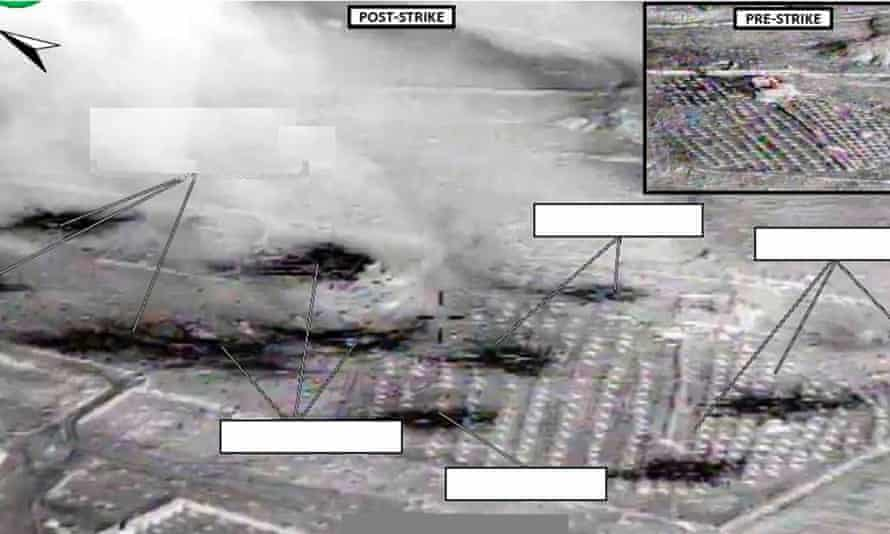 An area US officials say was an Isis vehicle staging center near Abu Kamal, Syria, is seen before (inset) and after it was struck by air strikes.