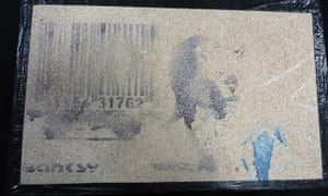The Banksy artwork Leopard and Barcode, which has reappeared at Nailsea school's open evening.