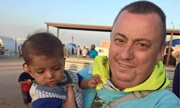 Alan Henning at a refugee camp on the Turkish-Syrian border
