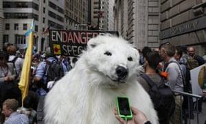 An activist dressed as a polar bear at a rally in New York