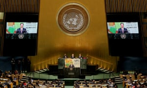Zhang Gaoli speaks during the Climate Summit 2014 at United Nations headquarters in New York.