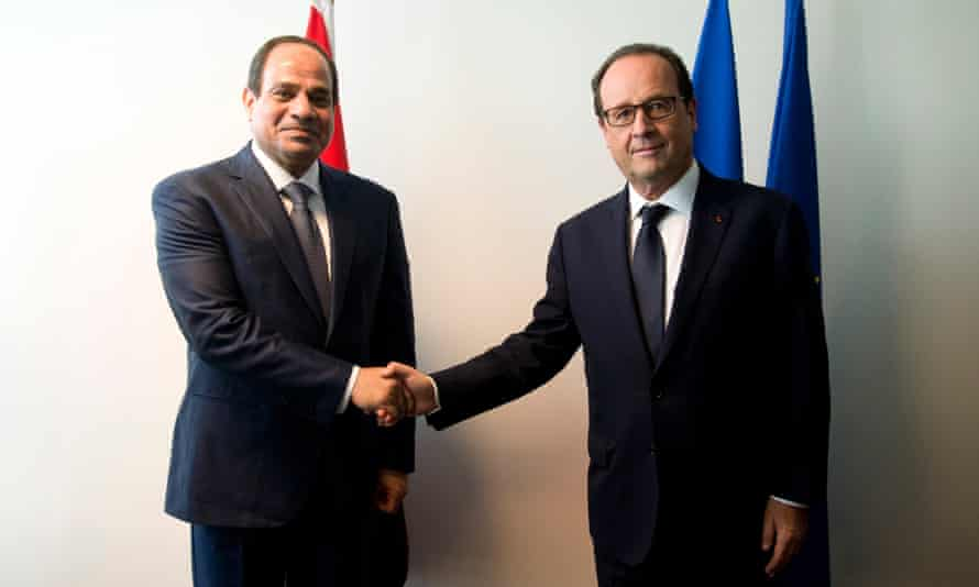 French president Francois Hollande welcomes Egyptian president General Abdel Fattah Al-Sisi.