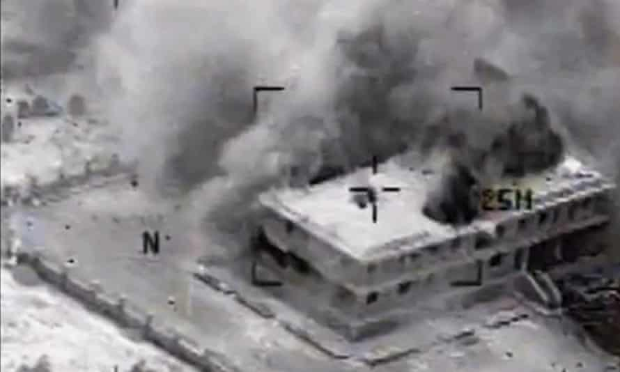 Image released by the US central command of an airstrike on Syria on Tuesday.