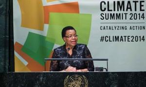 Graça Machel, the widow of Nelson Mandela, speaks at the UN climate summit in New York.