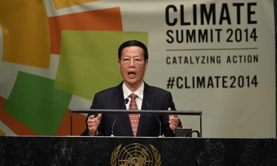 Chinese Vice Premier Zhang Gaoli  speaks during the Opening Session of the Climate Change Summit at the United Nations in New York.