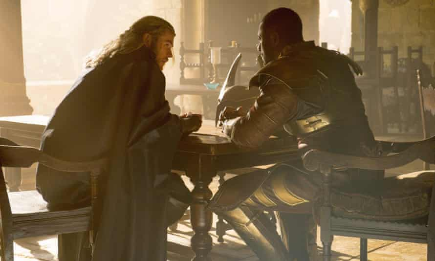 Six thousand words, by Friday…? Chris Hemsworth and Idris Elba knuckle down to their studies in Thor: The Dark World (2013).