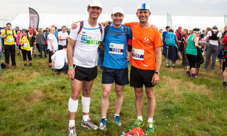 Three amigos: (from left) Alan Phillips, Tom Hartley and Martin Love at the start of the Carphone Warehouse Race to the Stones 2014.