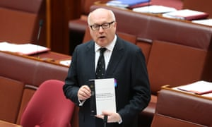Attorney general George Brandis during debate on National Security Legislation in the senate chamber on Wednesday.