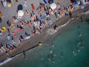 Abkhazia: Russian holidaymakers on the beach.