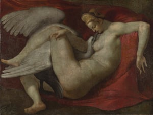 After Michelangelo  Leda and the Swan (After 1530) National Gallery, London There are strong hints of homosexuality as well as fellatio in this depiction of Leda making love to a swan. In ancient myth, Jupiter took the form of a swan to seduce Leda. Such myths were transformed by Renaissance artists such as Titian into alluring sensual painting. Michelangelo provocatively makes the coupling real. The model for Leda was his assistant Antonio Mini. The work barely conceals Michelangelo's fantasy – or record – of his own penis meeting Mini's mouth.