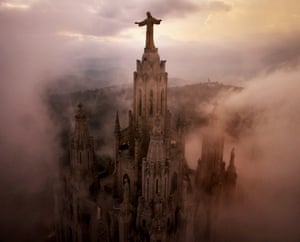 Barcelona, Spain: Clouds swirl through the pillars of The Temple Expiatori del Sagrat Cor Church, high on on the summit of Mount Tibidabo. Twenty minutes later a thunderstorm hit the city.