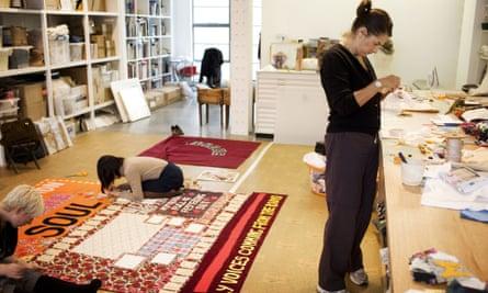 A stitch in time: Emin at work in her studio in 2008.