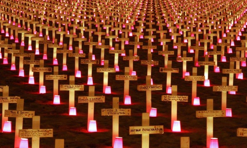 A candlelight vigil in 2007 at the Arlington West Memorial in Santa Barbara, California, to honour American soldiers killed in the Iraq war.