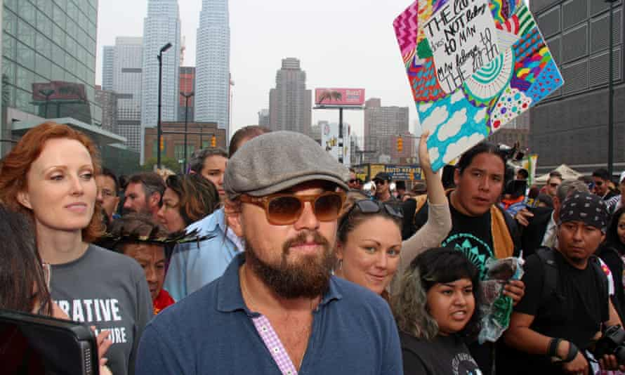 Actor Leonardo DiCaprio at the People's Climate March in New York City with an estimated 300,000 other marchers. DiCaprio spoke to world leaders at a UN climate summit the following day.