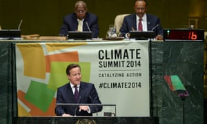 British Prime Minister David Cameron speaks during the climate summit at the UN headquarters on September 23, 2014 in New York City.
