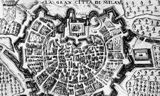 A 17th century engraving of the city of Milan.