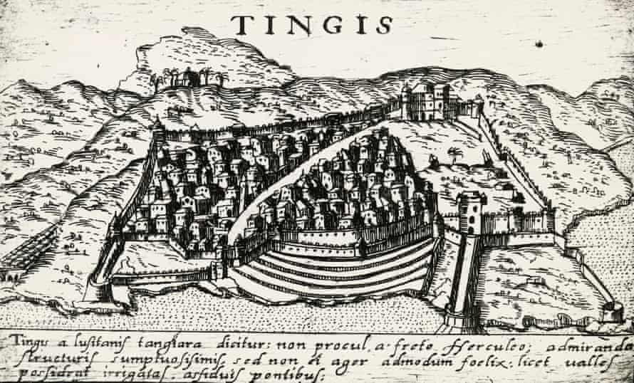 A 16th century engraving showing Tangier in Morocco.
