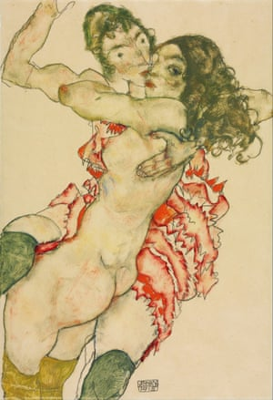 Egon Schiele Two Women Embracing