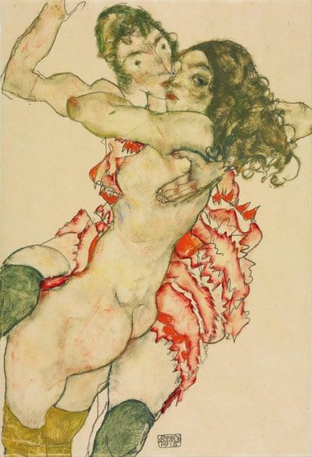 Egon Schiele Two Women Embracing