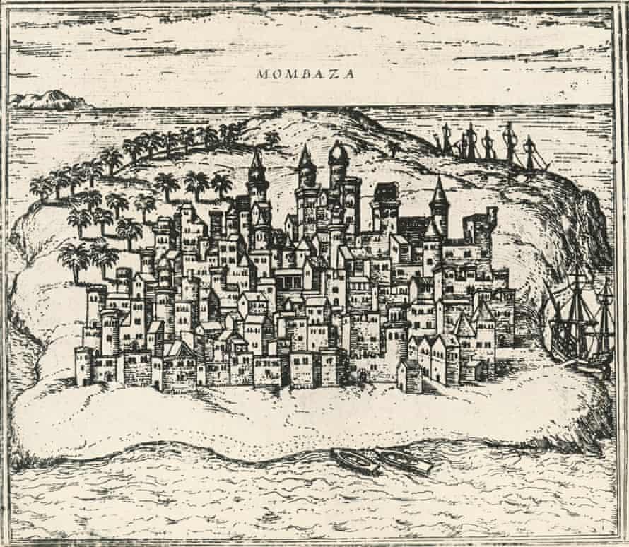 Mombasa in Kenya, in an engraving from the Civitates Orbis Terrarum of 1572.