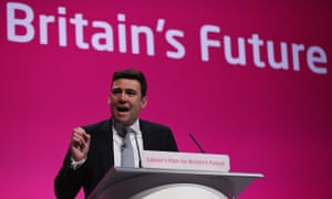Andy Burnham addressing the Labour party conference