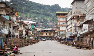 Near-empty streets during a three-day curfew in Freetown.