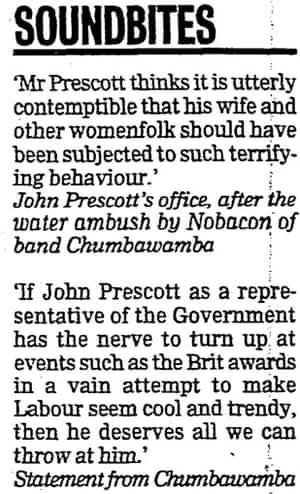 John Prescott gets soaked by Chumbawamba at the Brit Awards